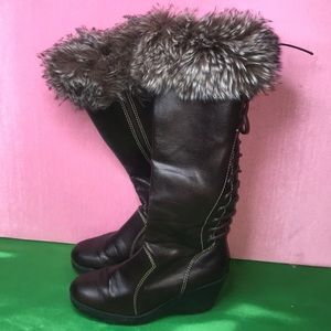 Shoes - Tall Brown Wedge Boots with Fur